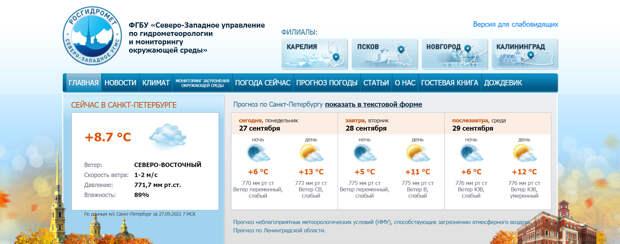 Погода в Петербурге ушла на осенний покой. Штормов и ливней пока не ждём