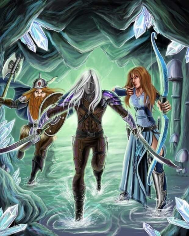 Герои Dark Alliance -Дзирт До'Урден, Кэтти-Бри, Бренор и Вулфгар.