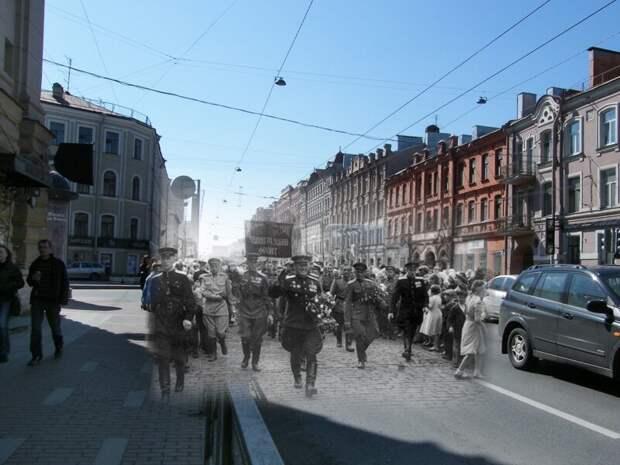 Ленинград 1945-2009 Московский проспект. Встреча победителей блокада, ленинград, победа