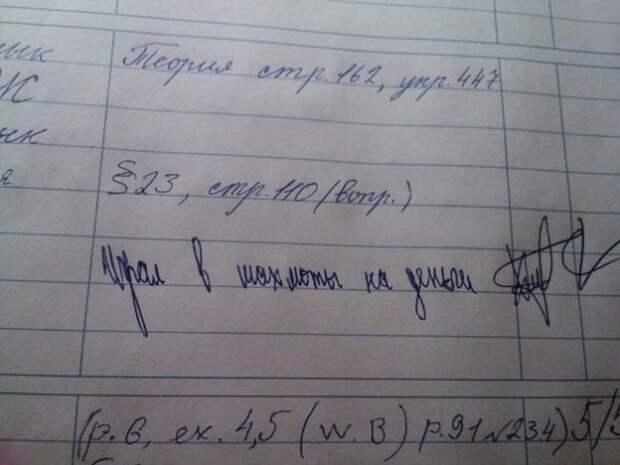 Юмор в дневниках и тетрадях школьников