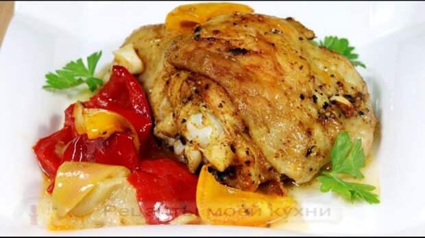 Запеченная курица с яблоками и сладким перцем