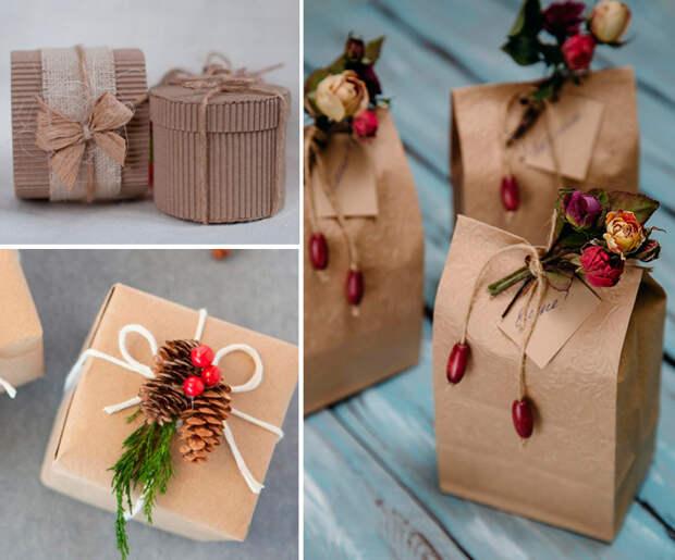 эко стиль в упаковке подарка