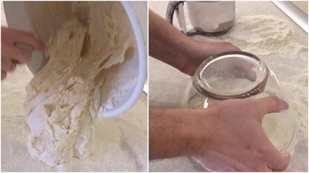 накрыть тесто миской