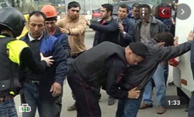 Стоп-кадр репортажа НТВ о драке мигрантов в Москва-Сити 30 мая 2014 года!