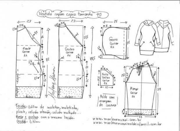 Выкройка платья с капюшоном (9 размеров)