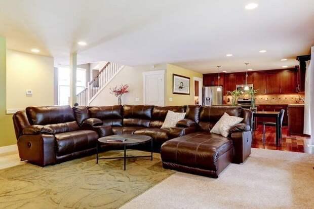 Кухня и кожаный диван в гостиной зонирование фото
