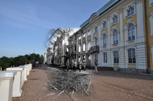 Петергоф 1943-2011 Большой дворец Петергофа.Искусствоведы из Германии ищут что бы еще отправить в Рейх. Примерно в это время- осень 43-го - пропал Самсон блокада, ленинград, победа
