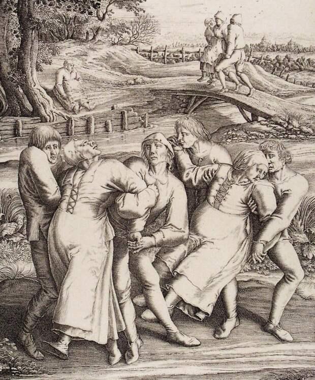 Фрагмент гравюры Генри Гондиуса. Основан на работе Питера Брейгеля-старшего, изобразившего пляску смерти, которая охватила Моленбрук