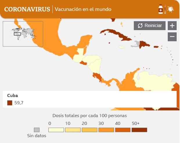 Уровень вакцинации на Кубе