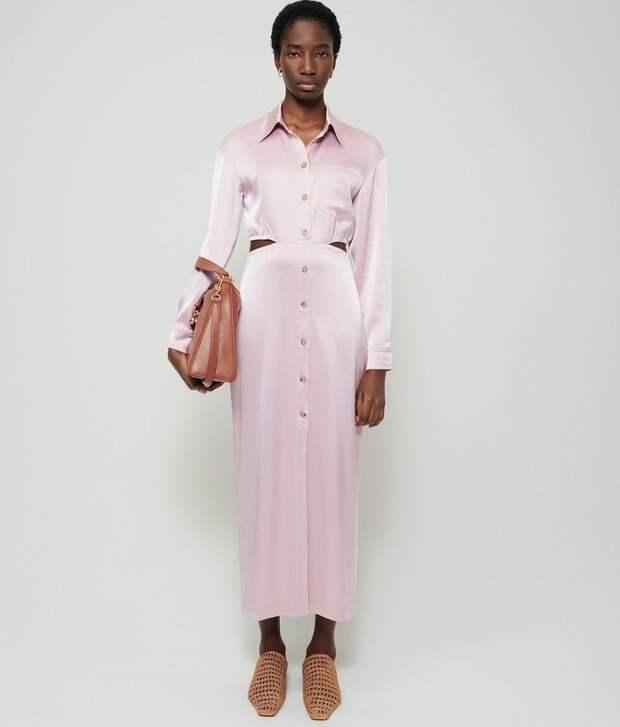 Атласное платье-комбинация с вырезом Nanushka Noor в цвете Desert Rose