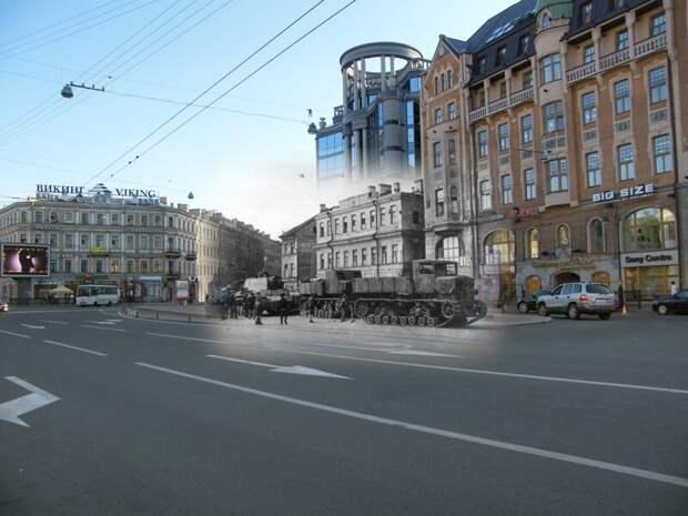 Ленинград 1941-2009 Владимирская площадь. Буксировка танка КВ-1 двумя тягачами Ворошиловец блокада, ленинград, победа
