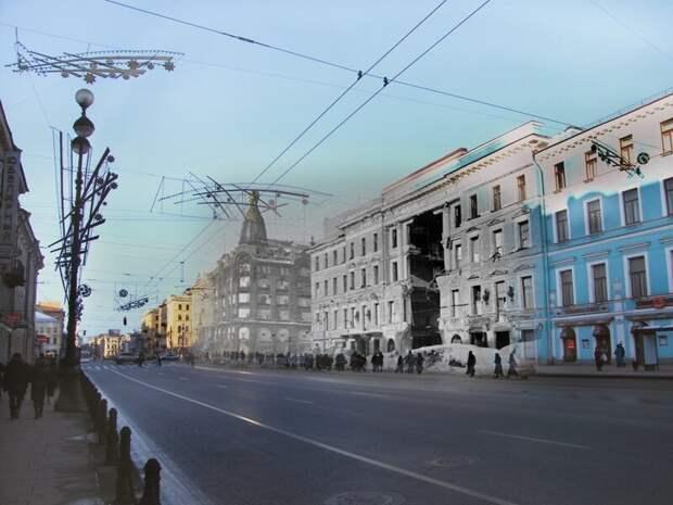 Ленинград 1942-2009 Невский проспект. Дом Энгельгардта блокада, ленинград, победа