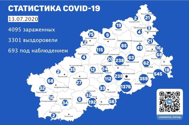 3301 житель Тверской области вылечился от коронавируса к 13 июля
