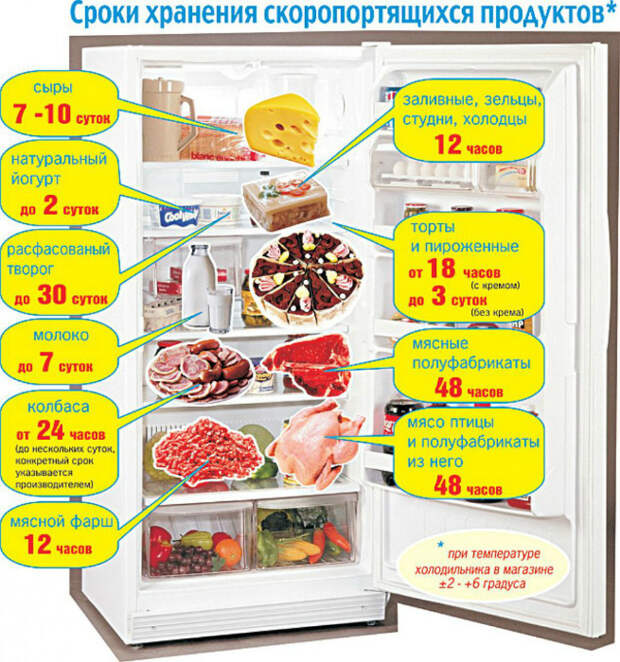 Хранение продуктов в холодильнике. | Фото: DonDay Шахты.