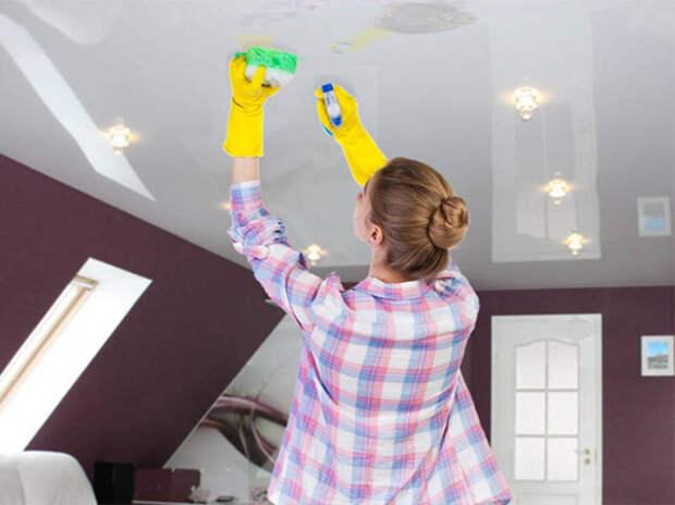 Тонкости и способы чистки натяжного потолка