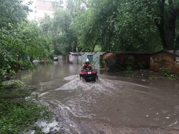 В Ростове-на-Дону спасатели эвакуировали собаку из залитого водой двора