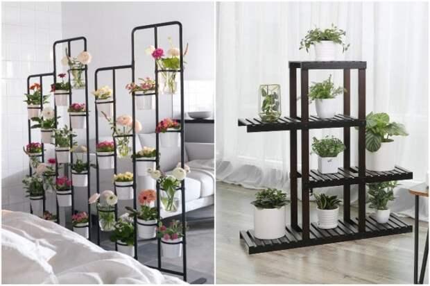 Напольные этажерки для цветов могут помочь в зонировании пространства. | Фото: pinterest.com.