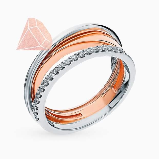 Кольцо «Алькор», розовое и белое золото, бриллианты