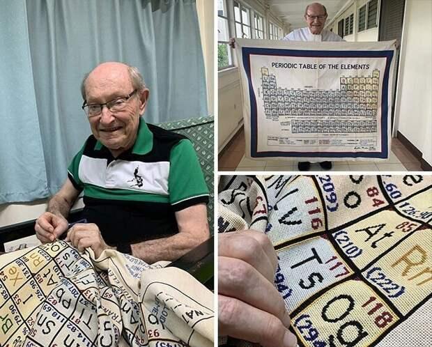 Учитель химии на пенсии Мартин Селлнер 20 лет вышивал крестиком периодическую таблицу элементов. Наконец его труд завершен!