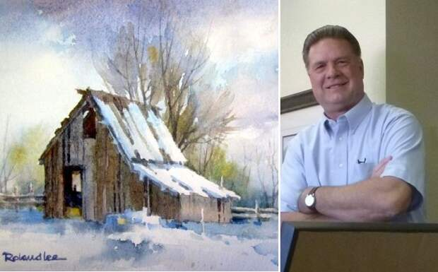 Зимние пейзажи американского акварелиста от Roland Lee.