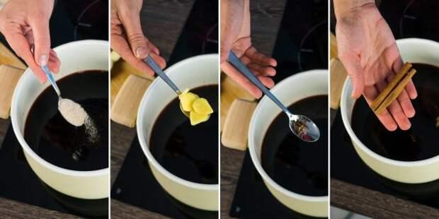 Глинтвейн, рецепт: Положите специи и сахар с корицей
