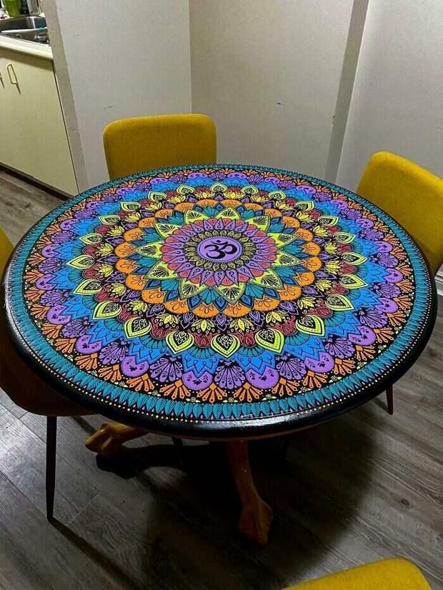 "20. ""Мой карантинный проект: нарисовал мандалу на старом столе"""
