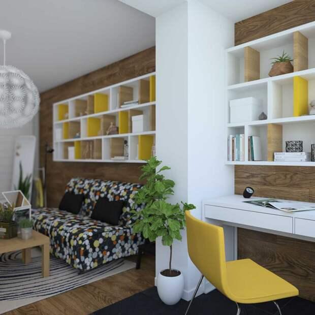 Яркие контрасты, присоединенная лоджия и небольшой бюджет. Атмосферная квартира с хорошим настроением