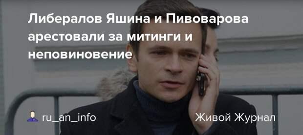 Либералов Яшина и Пивоварова арестовали за митинги и неповиновение:  ru_an_info — LiveJournal