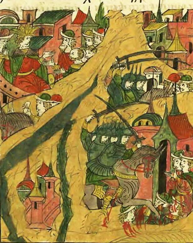 Князь Вишневецкий берёт Ислам-Кермен в 1556 году. Лицевой летописный свод, т. 22 - «Война двух царей»: путь к морю | Warspot.ru
