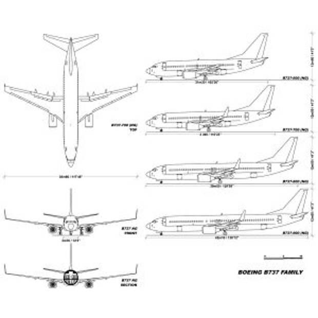Boeing семейства 737 Next Generation, размерный чарт