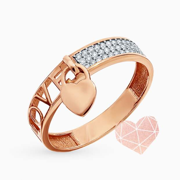 Кольцо «Ю-Стайл», желтое золото, фианиты