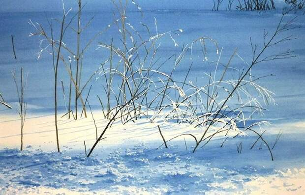 Зимние акварели Abe Toshiyuki.