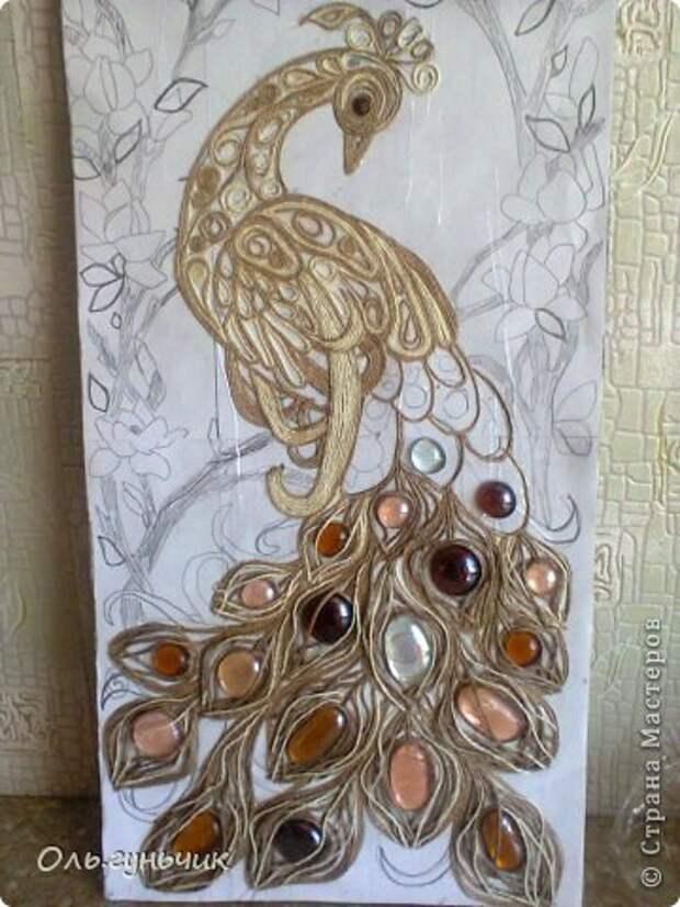 Картина панно рисунок Мастер-класс Моделирование конструирование Филигранный павлин МК Шпагат фото 13