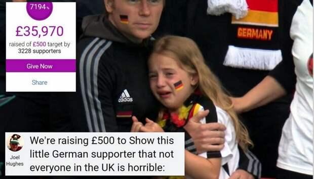 Почти €36 тысяч собрали англичане расстроенной проигрышем на ЕВРО-2021 немецкой девочке