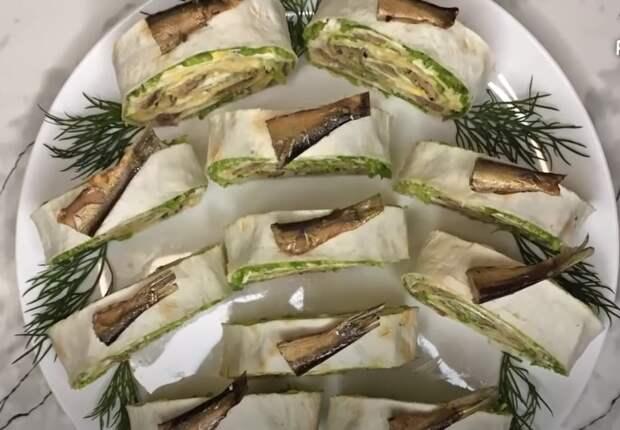 Шпроты в лаваше – великолепная новогодняя закуска.  Быстрая закуска из лаваша