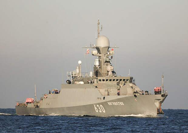 Малый ракетный корабль «Ингушетия» Черноморского флота выполнил артиллерийские стрельбы