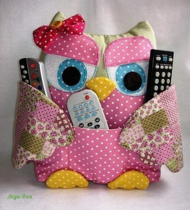 Замечательные совушки-подушки с кармашками. Не теряйте пульт - доверьте его сове :)