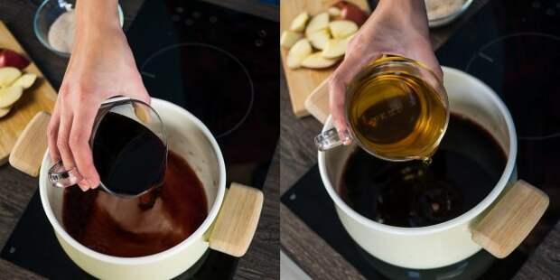 Как приготовить глинтвейн: В кастрюлю налейте красное вино и яблочный сок
