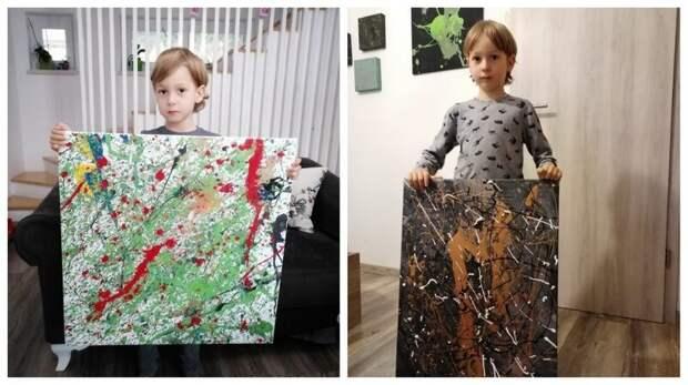 5-летний мальчик с аутизмом рисует особенные картины