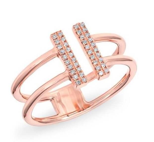 двойное кольцо из красного золота с бриллиантами