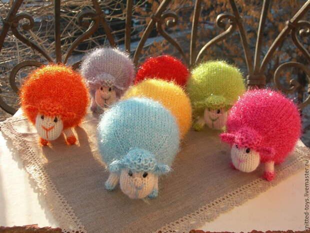 Разноцветные овечки. Вязаная елочная игрушка, Мягкие игрушки, Липецк,  Фото №1