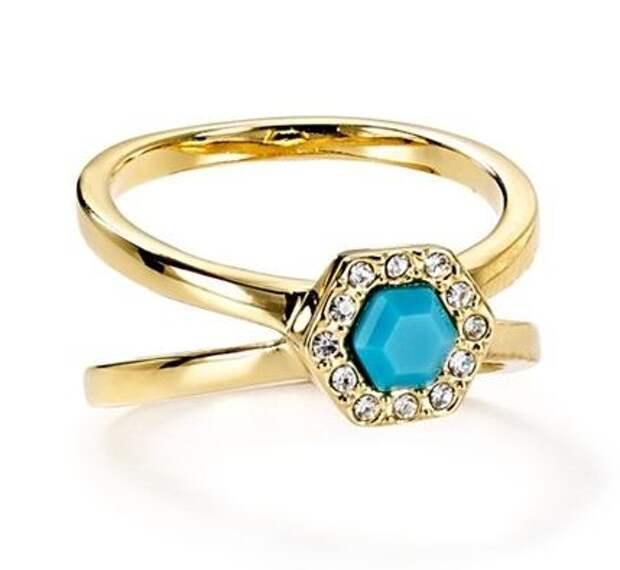 двойное кольцо с позолотой и бирюзовым камнем