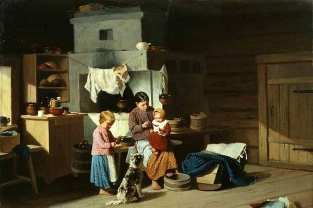 И. Пелевин. Кормление ребенка. 1890 год. Фото: Тюменский музей изобразительных искусств