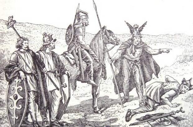 Галльские воины на иллюстрации XIX века из французской энциклопедии