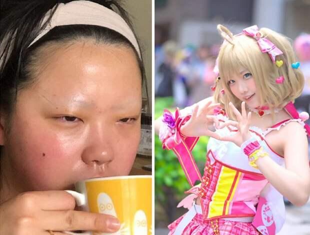 Японцы делятся своими косплей-фотографиями,  разница, до и после, огромна