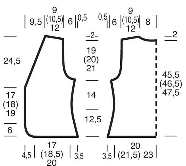 Приталенный жилет и следочки на двух спицах