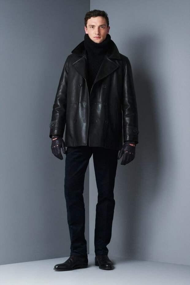 Dunhill черный кожаный бушлат
