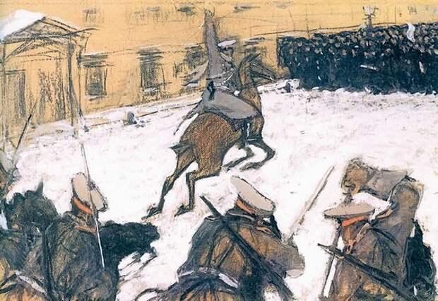 Карательные войска атакуют восставших рабочих и солдат