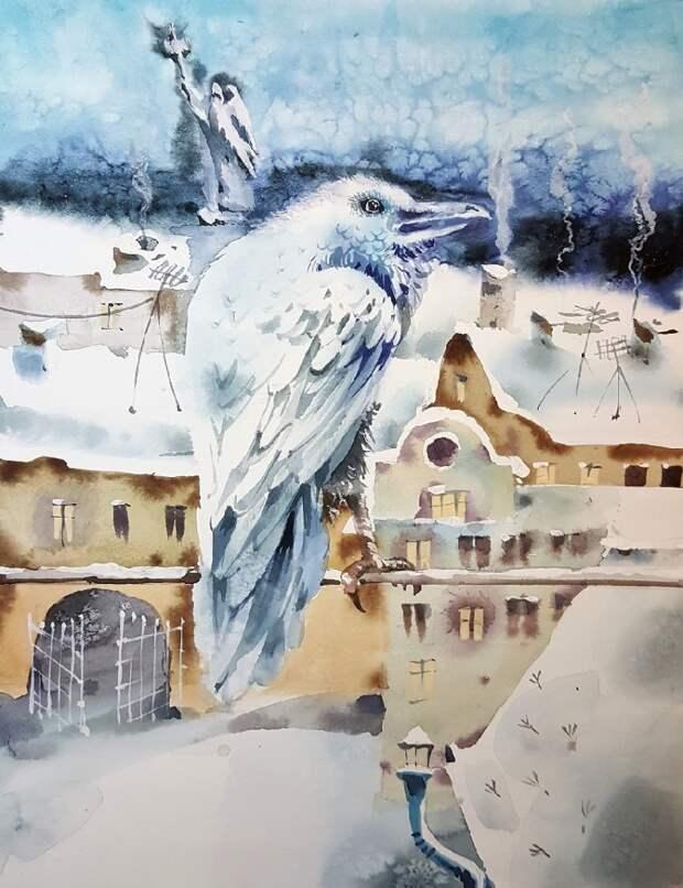 Зимняя круговерть. Акварель Марины Дайковской