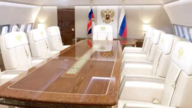 Интерьер самолёта российского президента.